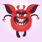 Cartoon scary red round monster illustration. Vector of a small tiny monster with big ears. Halloween character. Cartoon scary red round monster illustration Stock Photography