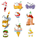 Cartoon scary sweets, cakes and ice cream Royalty Free Stock Photo