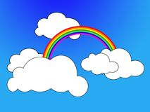Cartoon scene. Drawing of rainbow in clouds Royalty Free Stock Images