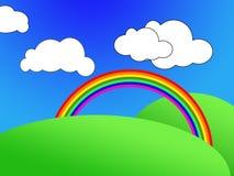 Cartoon scene. Cartoon landscape scene and rainbow Stock Images