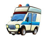 Cartoon scene with ambulance truck on white background Stock Photo