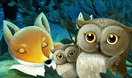 Cartoon scene with animals family of foxes sleeping in the fores