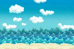 Cartoon scene of beach near the sea or ocean stock illustration