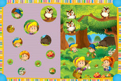 Cartoon scene of a bear sleeping in the forest and a children gathering mushrooms - searching game. Colorful and beautiful illustration for the children Royalty Free Stock Photo
