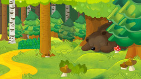 Cartoon scene with a bear sleeping in the forest Stock Images