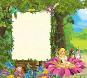 Cartoon scene with beautiful elf girl on the flower and other funny animals - frame for different usage. Beautiful and colorful illustration for the children stock illustration