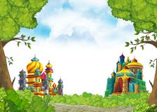 Cartoon scene with beautiful medieval castles - far east kingdom - with space for text vector illustration