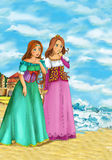 Cartoon scene of beautiful mermaid on the beach - two ladies watching on the ocean Royalty Free Stock Photo
