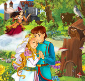Cartoon scene with beautiful prince and princess in front of some castle - sorceress in the background - standing in the forest Royalty Free Stock Images