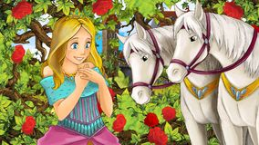 Cartoon scene of beautiful princess in the garden with white horses  Royalty Free Stock Photo