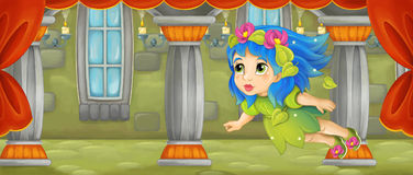 Cartoon scene - beautiful tiny fairy flying in the castle room Stock Image