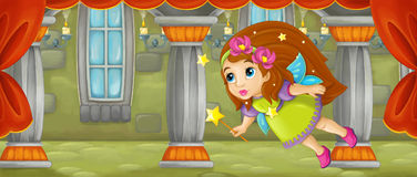 Cartoon scene - beautiful tiny fairy flying in the castle room Royalty Free Stock Photography