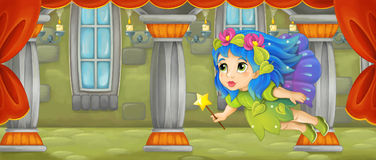 Cartoon scene - beautiful tiny fairy flying in the castle room Royalty Free Stock Images