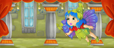 Cartoon scene - beautiful tiny fairy flying in the castle room Stock Images