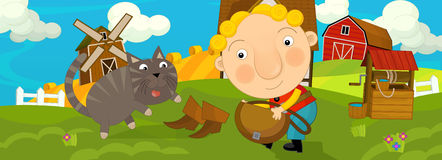 Cartoon scene with boy and a cat Royalty Free Stock Photo