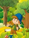 Cartoon scene with boy gathering mushrooms - illustration for children Royalty Free Stock Images