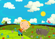 Cartoon scene with boy and his cat on the farm field Stock Photography