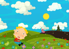 Cartoon scene with boy on the meadow Stock Images