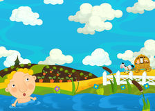 Cartoon scene with boy in the water - carriage is driving through the farm Royalty Free Stock Images