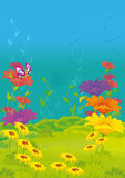 Cartoon scene with butterfly on the flower field - stage for different usage. Beautiful and colorful illustration for the children Stock Image