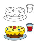 Cartoon scene with cake and drink - isolated Stock Photos