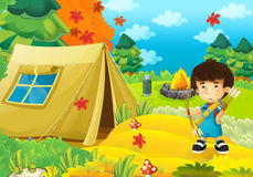 Cartoon scene of camping in the forest - happy and funny boy - with bow and arrows - archer Royalty Free Stock Images