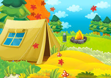 Cartoon scene of camping in the forest Stock Photos