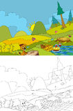 Cartoon scene of camping in the mountains - picnic and dog - with coloring page Royalty Free Stock Photos