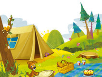 Cartoon scene of camping in the mountains - tent and dog Stock Image