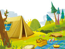 Cartoon scene of camping in the mountains - tent Stock Images