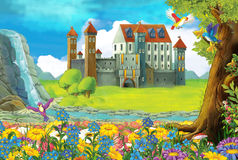 Cartoon scene on a castle - stage for different usage - for fairy tales - book or game Royalty Free Stock Image