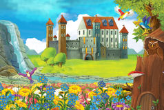Cartoon scene with a castle and a tree house in the forest - stage for different usage - for fairy tales - book or game Stock Images