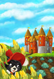 Cartoon scene with a cat in the corn field - looking around from his hiding place. Happy and beautiful illustration for children Royalty Free Stock Photography