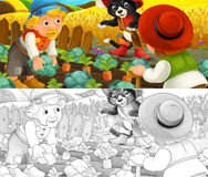 Cartoon scene of cat and farmers on the farm field - with coloring page Stock Photography