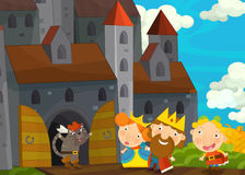 Cartoon scene with cat greeting royal pair by the castle Stock Photo