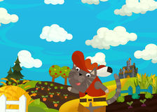 Cartoon scene - cat traveling to the castle on the hill Royalty Free Stock Photo