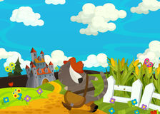 Cartoon scene - cat traveling to the castle on the hill Royalty Free Stock Images