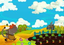 Cartoon scene - cat traveling to the castle on the hill Stock Photography