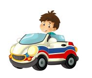 Cartoon scene with child - boy in toy car ambulance on white background Royalty Free Stock Photography