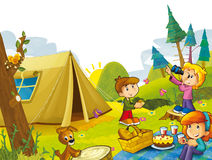 Cartoon scene with children having fun in the forest Royalty Free Stock Images