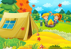 Cartoon scene with children having fun in the forest Stock Image