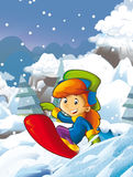 Cartoon scene with children having fun in the mountains Royalty Free Stock Images