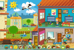 Cartoon scene on children at the playground - matching game Royalty Free Stock Photo