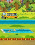 Cartoon scene with children swimming in a pool training Stock Images