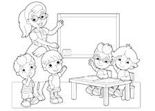 Cartoon scene with children and teacher in the classroom holding hands up vector coloring page royalty free illustration