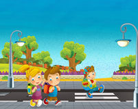 Cartoon scene with children walking on the street Stock Images