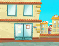 Cartoon scene in the city - background Royalty Free Stock Photography