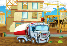 Cartoon scene of a construction site with heavy truck cistern - illustration for children Royalty Free Stock Photography
