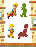 Cartoon scene with construction workers doing some jobs. Beautiful and colorful illustration for the children - for different usage - for fairy tales stock illustration