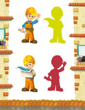 Cartoon scene with construction workers doing some jobs. Beautiful and colorful illustration for the children - for different usage - for fairy tales vector illustration